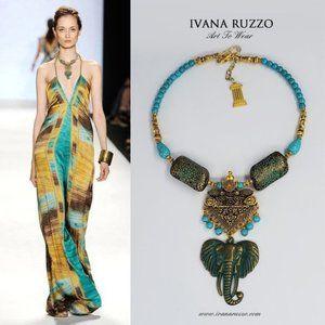 Goledn Designer Necklace Elephant Turquoise Stone